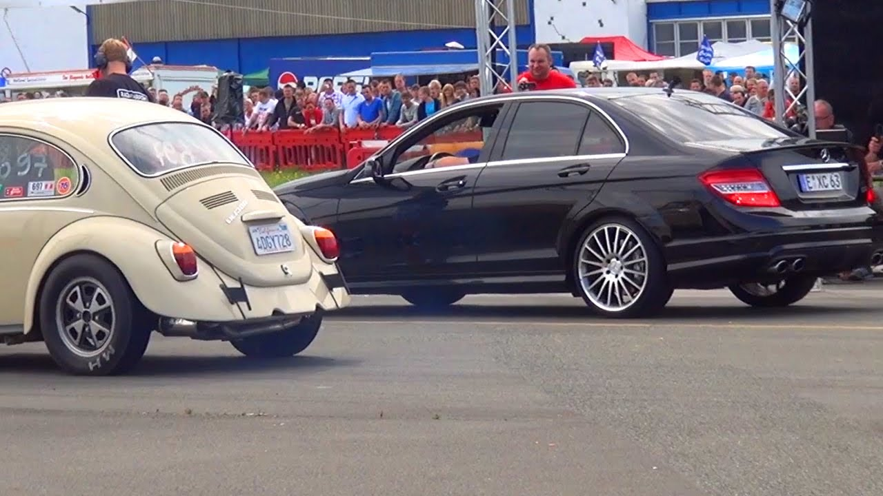 An Old Beetle Smash Down The Benz C63 AMG