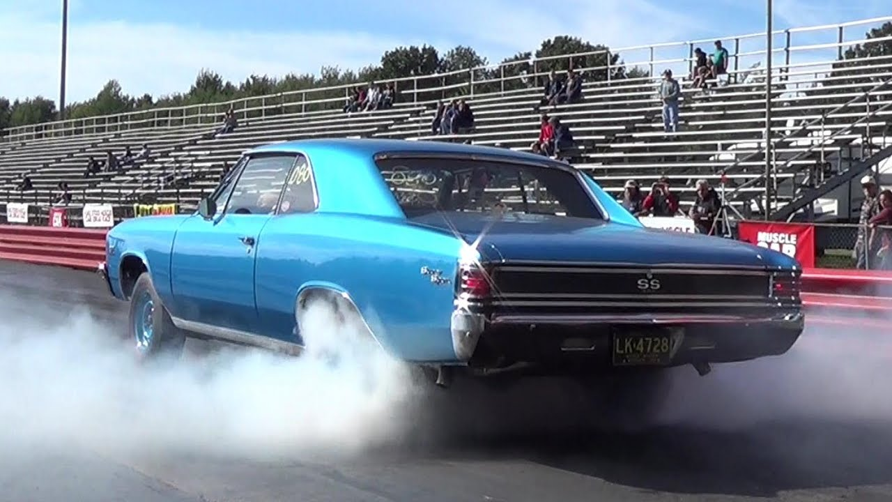 Classic 1967 Chevelle And 1970 Camaro Burnout Fight And A