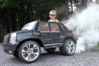 An Awesome Power Wheels Escalade Makes Wonderful Burnout With Smoke